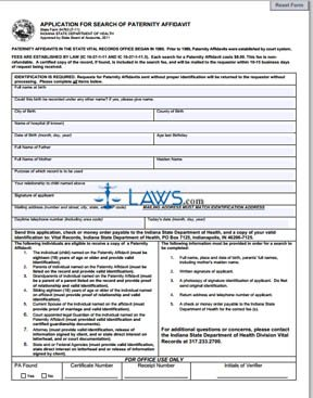 Form 54763 Application for Search of Paternity Affidavit - Indiana ...