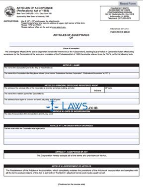 Form 13451 Articles of Acceptance