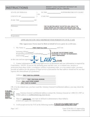 Form Modify Child Support without an Agreement on All Issues ...