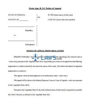 Notice of Appeal Rule 9(A)