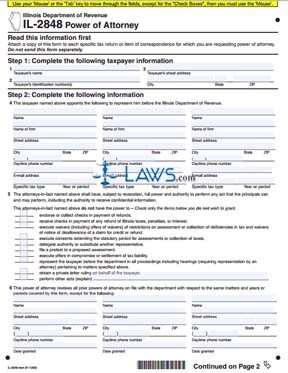 il 2848 Form IL-2848 Power of Attorney - Illinois Forms - | Laws.com