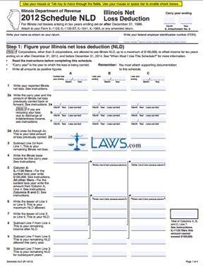 Form Schedule NLD Illinois Net Loss Deduction