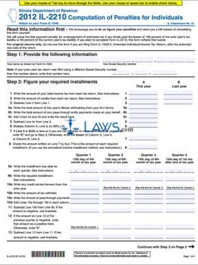 Form IL-2210 Computation of Penalties for Individuals