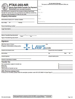 Form PTAX-203 NR Real Estate Transfer Tax Payment Document