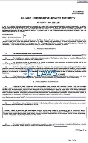 Form MP-6B Affidavit of Seller