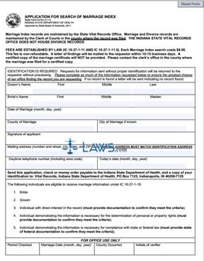 Form 54764 Application for Search of Marriage Index