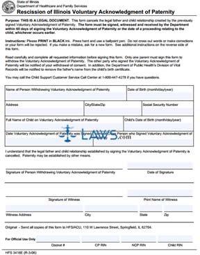 Form HFS3416E Rescission of Illinois Voluntary