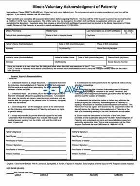 Form 082905-3416b Illinois Acknowledgement of Paternity - Illinois ...