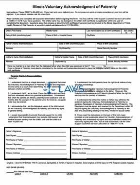 Form 082905-3416b Illinois Acknowledgement of Paternity