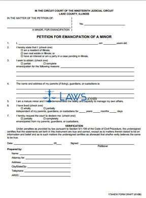 Form Petition Emancipation of Minor - Lake County