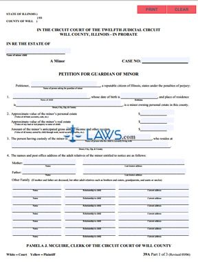 Form 39A Petition for Guardian of Minor