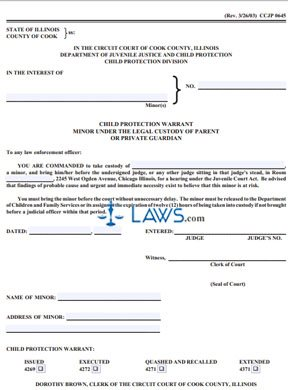 Form Ccjp0645 Child Protection Warrant Minor Under The