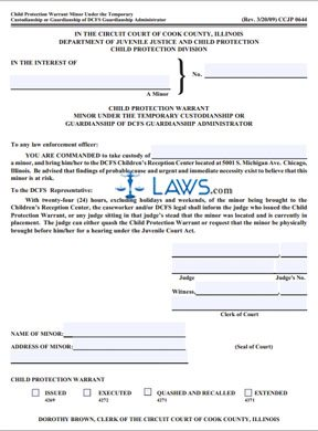 Form CCJP0644 Child Protection Warrant Minor Under The Temporary Custodianship or Guardianship of DCFS Guardianship Administrator