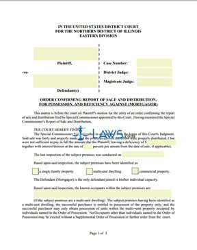 Form Order Confirming Report of Sale and Distribution, for Possession, and Deficiency Against (Mortgagor)
