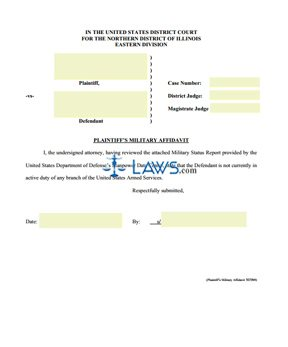 Form Plaintiff's Military Affidavit