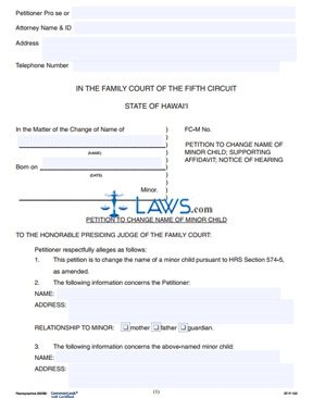Form 5FP163 Petition to Change Name of Minor Child