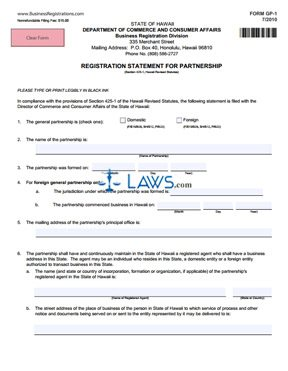 Form HI Registration Statement for Partnership