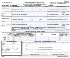 Form Marriage License Application