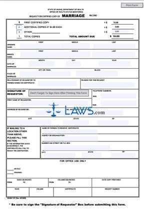 Form OHSM 137 Request for Certified Copy of Marriage