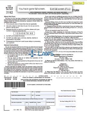 Form N100 Application for Automatic Extension of Time to File Individual Income Tax Return