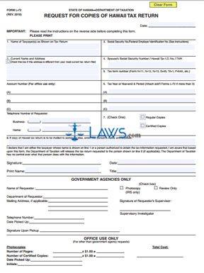 Form L72 Request for Copies of Hawaii Tax Return