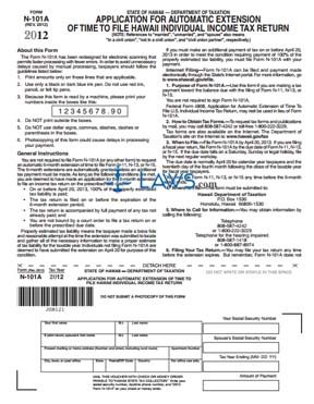 Form N101A Application for Automatic Extension of Time to File Individual Income Tax Return