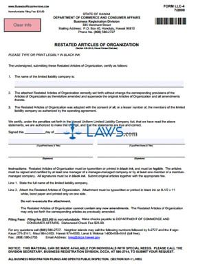 Form LLC-4 Restated Articles of Organization