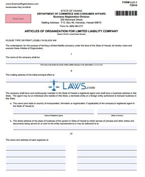 Form LLC-1 Articles of Organization for LLC - Hawaii Forms - | Laws.com