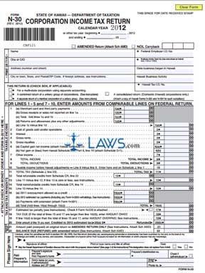 Form N-30 Corporation Income Tax Return
