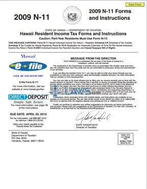 2009 Hawaii Individual Resident Income Tax Return Instructions