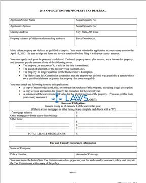 Form Application for Property Tax Deferral 2012