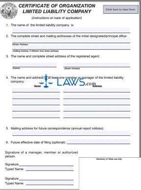 Form 251 Certificate of Organization LLC