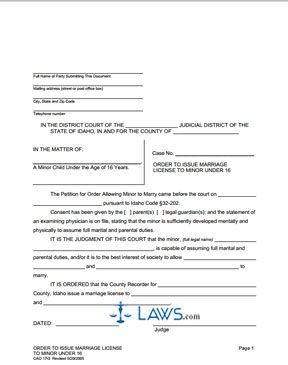 Form CAO 17-3 Minor Marry Order