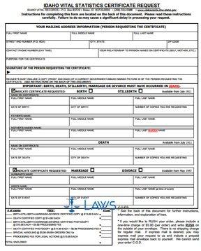 Form Vital Statistic Certificate Request