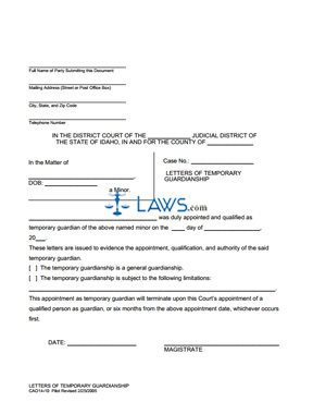 Form 14-10 Temporary Guardianship Letters - Idaho Forms - | Laws.com