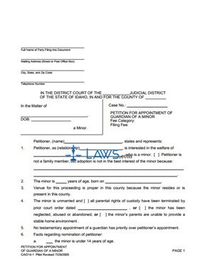 Form 14-1 Petition for Appointment of Guardian of a Minor - Idaho ...