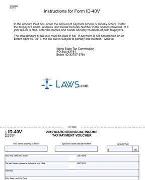 Form 40V Income Tax Payment Voucher