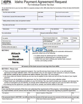 Form 40PA Idaho Payment Agreement Request