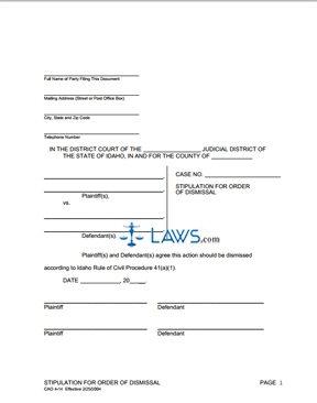 Form CAO 4-14 Stipulation for Dismissal