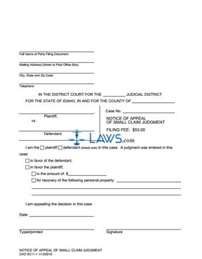 Notice of Appeal of Small Claims Judgment SC 11-1