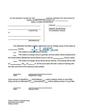 Order on Motion to Change Venue SC 8-4