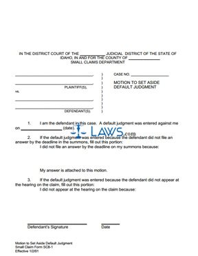 Motion to Set Aside Default Judgment SC 8-1