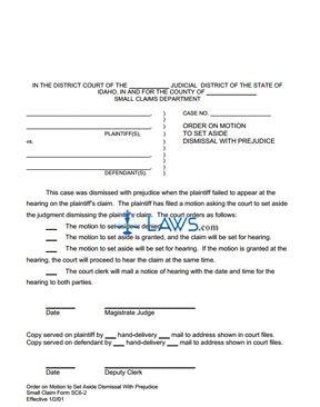 Order on Motion to Set Aside Dismissal with Prejudice SC 6-2