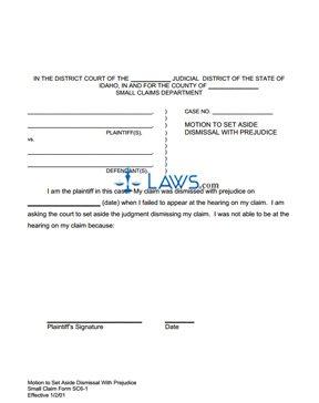 Motion to Set Aside Dismissal with Prejudice SC 6-1
