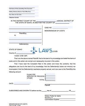 Memorandum of Costs (Tenant) CAO 16-16B