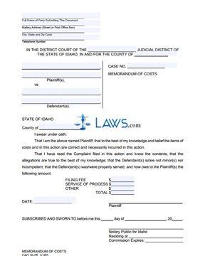 Memorandum of Costs (Landlord) CAO 16-7B
