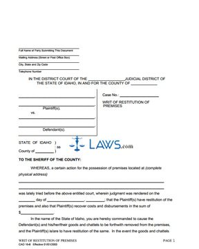 Writ of Restitution of Premises CAO 16-8