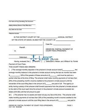 Order for Fee Waiver - Prisoner CAO 1-10D