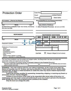 Protection Order - Short Form DV 8-2 - Revised 12/07