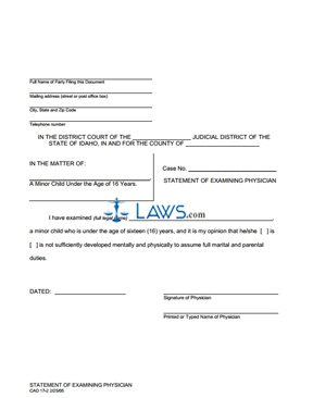 Physician Statement-Petition for Minor to Marry CAO 17-2